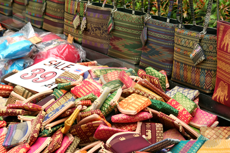 Thai souvenirs stock photo, Souvenir traditional woven handicraft bags for sale in a street stall in Bangkok Thailand by Kheng Guan Toh