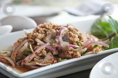 Thai pork dish stock photo, Pork and onion dish traditional thai cuisine restaurant setting by Kheng Guan Toh