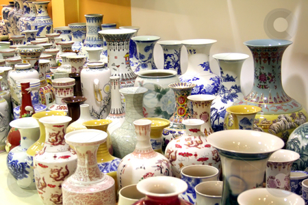 Chinese porcelain stock photo, Traditional chinese fine decorative porcelain vases and figurines by Kheng Guan Toh