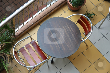 Cafe top down stock photo, Top down view of cafe bistro table and chairs by Kheng Guan Toh