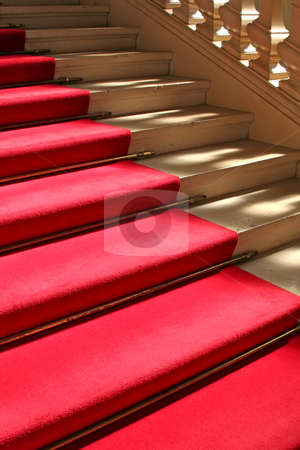 Red carpet on stairs stock photo, Red carpet on clasically designed marble staircase by Kheng Guan Toh
