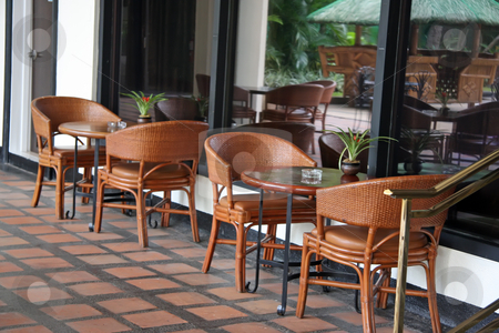Tropical cafe stock photo, Open air poolside tropical casual restaurant cafe furniture by Kheng Guan Toh