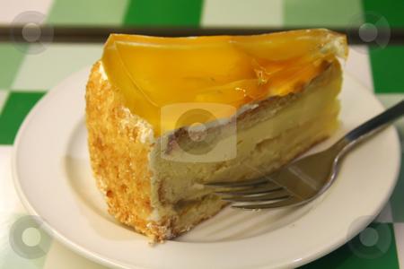 Mango cake stock photo, Mango cream cake on white plate restaurant setting by Kheng Guan Toh