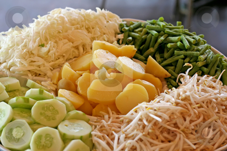 Raw vegetables stock photo, Raw sliced vegetables and greens traditional asian starter by Kheng Guan Toh