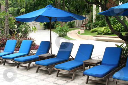 Asia asian chair chairs deck holiday hotel lounge pool poolside  stock photo, Poolside deck chairs with umbrellas tropical by Kheng Guan Toh