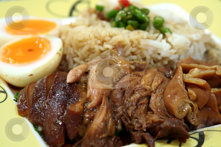 Stewed pork chinese stock photo, Stewed pork with soya sauce on rice traditional chinese dish by Kheng Guan Toh