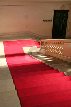 Red carpet stock photo, Red carpet on clasically designed marble staircase by Kheng Guan Toh