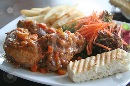 Ossobuco roast lamb stock photo, Ossobuco roast lamb with frenchfries and vegetables by Kheng Guan Toh