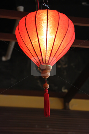 Chinese lanterns stock photo, Traditional chinese lanterns festive decoration red fabric with tassels by Kheng Guan Toh
