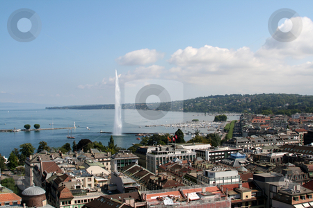 Jet d'eau stock photo, Jet d'eau on Lake Geneva in Geneva Switzerland by Kheng Guan Toh