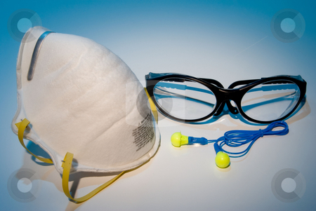 Personal Protective Equipment stock photo, Dust mask, ear plugs and safety glasses personal protective equipment. by Robert Byron