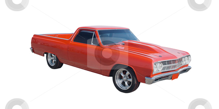 Racing styled red hotrod stock photo, Customized red hotrod with raised hood and tinted glass by Lee Barnwell