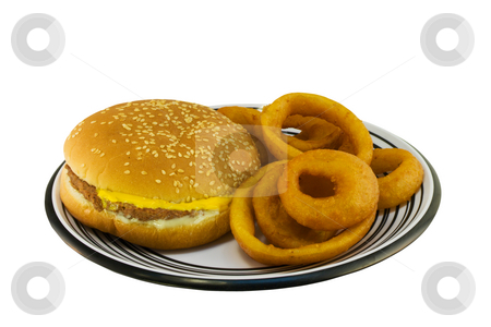 Simple cheeseburger plate stock photo, Simple cheeseburger with onion rings on a black and white plate by Lee Barnwell