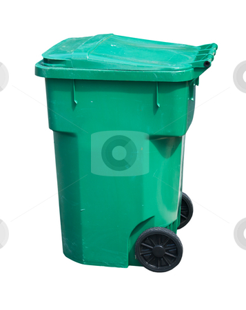 Light green trash can stock photo, Large, green, wheeled trash can on white by Lee Barnwell