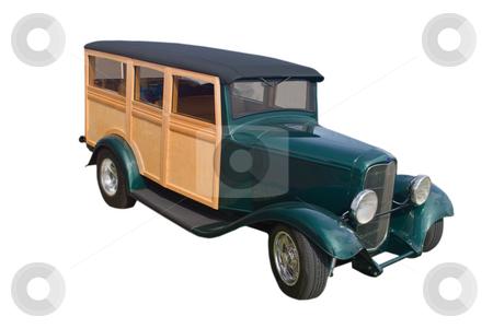 Green woody panel van stock photo, Retro green woody panel van by Lee Barnwell
