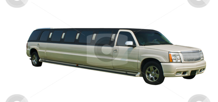 Pearl white limo  stock photo, Elegant, stretched pearl white limo with clipping path by Lee Barnwell