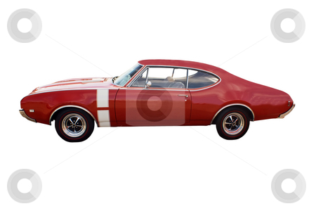 Red muscle car stock photo, Classic red muscle car with white vertical stripe by Lee Barnwell