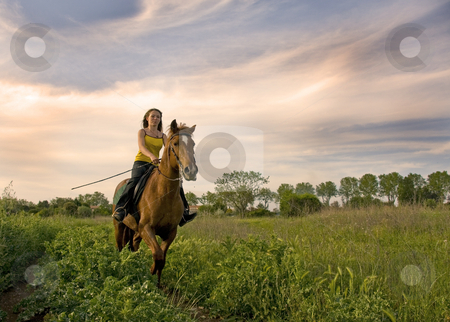 Riding girl stock photo, Riding teenager and her brown stallion in a field by Bonzami Emmanuelle
