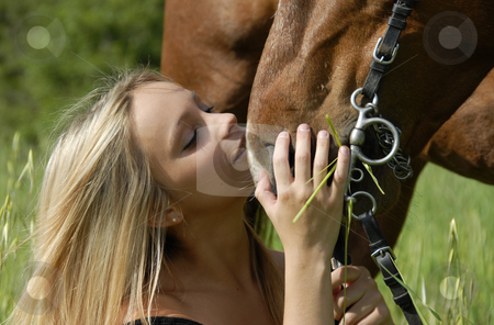 Pretty teen and stallion stock photo, Young woman kissing her brown stallion in a field by Bonzami Emmanuelle
