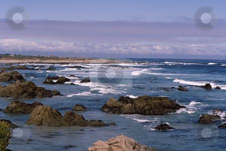 Rocky Costal California stock photo, Rocky california costal scene under wintery sky by Joseph Ligori