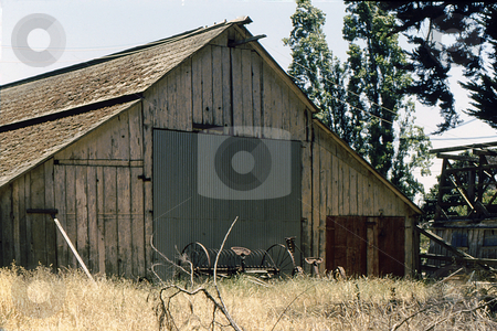 Old barn and farm implement stock photo, Old barn and farm implement in heavily weeded field by Joseph Ligori