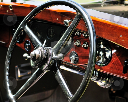 Rolls Royce steering wheel stock photo, Vintage rolls royce steering wheel by Tim Doubrava