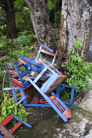 Discarded Chairs in Nicaragua stock photo, Colorful discarded chairs near a tree in Nicaragua by Scott Griessel