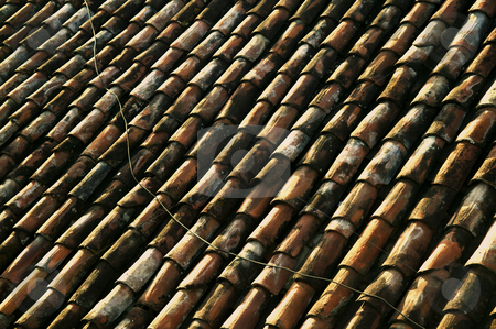 Red Tile Roof stock photo, Red Tile Roof with Electrical Line Running Across it in Central America by Scott Griessel