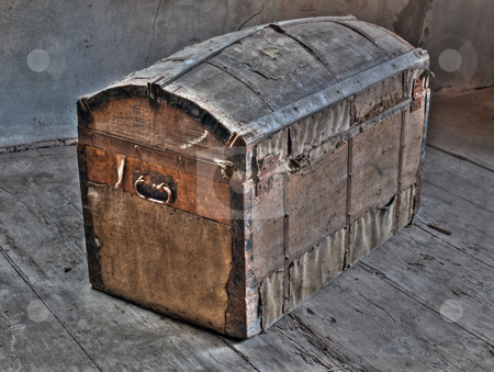 Treasure ark stock photo, Retro look of ancient wooden box like pirate treasure ark. by Sinisa Botas