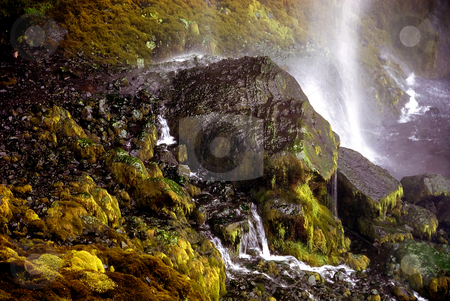 Inside waterfall stock photo, Green inside of Selfoss waterfall in Iceland by Wino Evertz