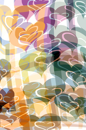 Pattern with hearts stock photo, Garlands of pastel colored hearts by Wino Evertz