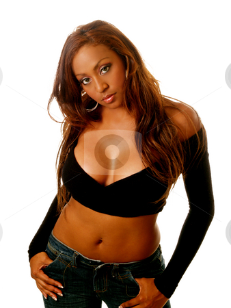 Woman sexy pose stock photo, Young woman in black sweater and blue jeans by Jeff Cleveland