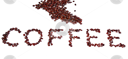 Coffee beans stock photo, The word coffee written out in beans isolated on a white background by Mark Allchin