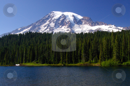 Mount Rainier Portrait stock photo, A beautiful 3 layered portrait of Mount Rainier by Nilanjan Bhattacharya