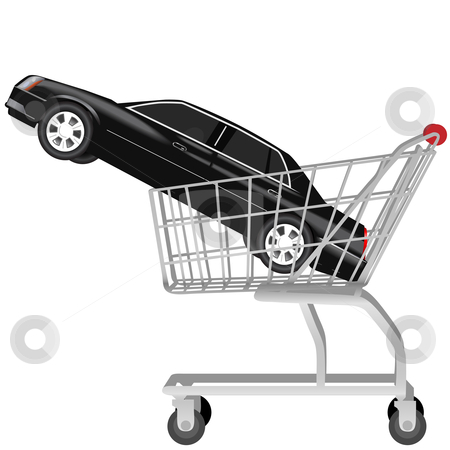 Car buying_a black auto in shopping cart stock vector clipart, Car Buying: a black used or new auto inside a shopping cart. Proceed to checkout. by Michael Brown