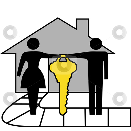 Couple hold gold house key to family home stock vector clipart, A couple hold a gold house key to family home. by Michael Brown