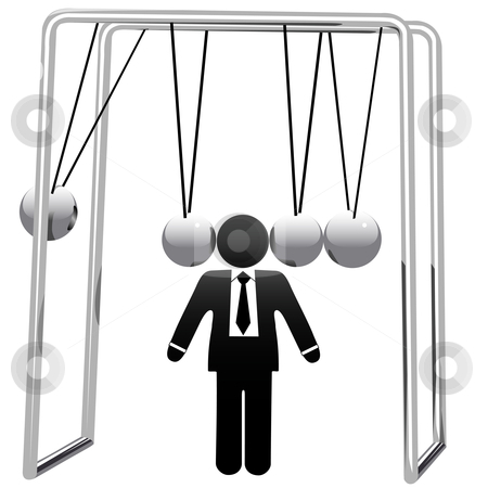Newtons Cradle Cradles Symbol Busines Man Head stock vector clipart, A Newton's Cradle business desktop toy cradles a symbol business man's head. by Michael Brown