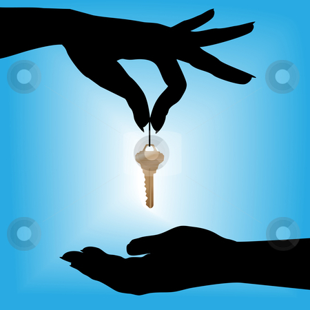 Silhouette woman drops glowing house key into a cupped hand stock vector clipart, A silhouette female hand holds a house key over a cupped hand against a blue background glow. by Michael Brown