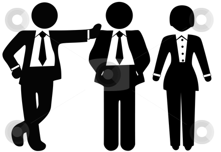 Team of 3 Business People in Suits stock vector clipart, A team of 3 business people in suits, a group of a woman and two men. by Michael Brown