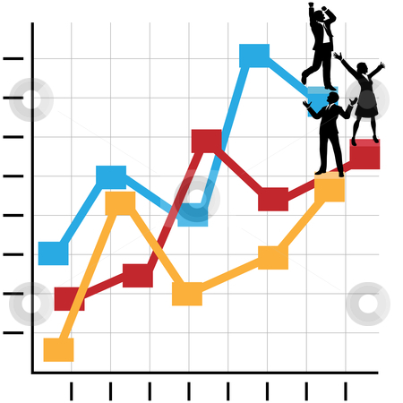 Business People Celebrate Success Standing on Growth Chart stock vector clipart, Male & female business people celebrate on a financial chart to growth, profit, and success. by Michael Brown