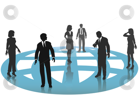 Silhouette Business People Connections on Blue Globe Network stock vector clipart, A group of silhouette business people - man and women - connect on a blue globe. by Michael Brown