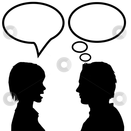 Speech & talk man & woman say listen & think stock vector clipart, She says he listens. A couple discuss as the woman talks in a speech bubble and the man listens and thinks in a thought bubble. by Michael Brown