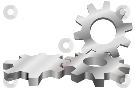 Three machine gears mesh to form industrial technology backgroun stock vector clipart, Three shiny machine gears mesh to form an industrial technology background with copyspace. by Michael Brown