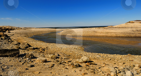 Winter inlet stock photo, Winter beach inlet by Tim Doubrava