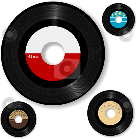 Retro 45 RPM Record Labels stock vector clipart, 45 RPM records. Make your own music labels. by Michael Brown