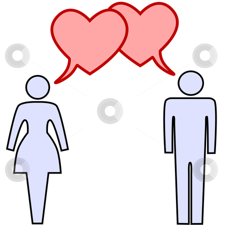 Couple talk love in heart speech bubbles stock vector clipart, A couple of lovers talk love in heart speech bubbles at valentines or any time. by Michael Brown