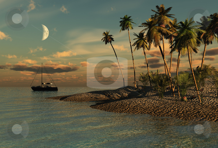 Evening in paradise stock photo, Computer rendered image by Annika Str?