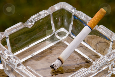 Cigarette  stock photo, A cigarette burning in a glass ashtray. by Robert Byron