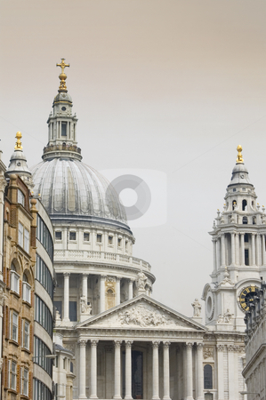 St Pauls Cathedral stock photo, London's most important church with surrounded by buildings by Lee Torrens