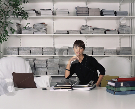 MPIXIS160003 stock photo, Office worker with paperwork by Mpixis World